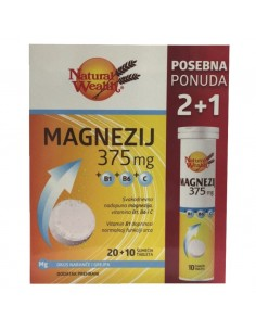 Natural Wealth Magnezij 375 MG + B1 + B6 + C šumeće tablete 2+1 GRATIS