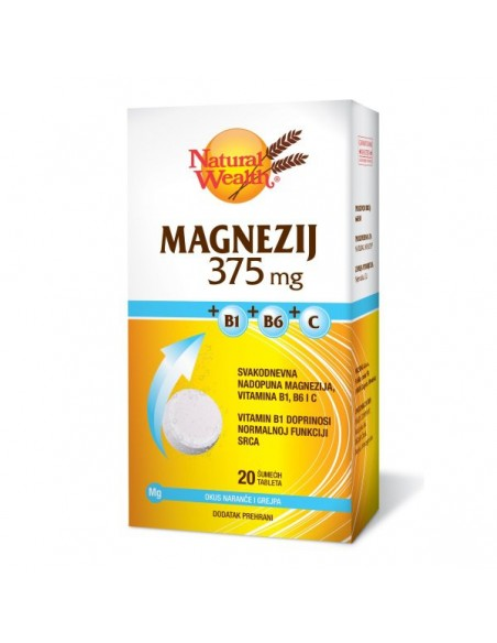 Natural Wealth Magnezij 375 MG + B1 + B6 + C šumeće tablete